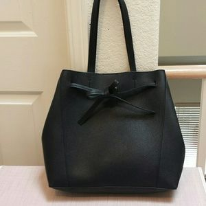 Ann Taylor Pebble Leather Bow Tie Tote NWOT